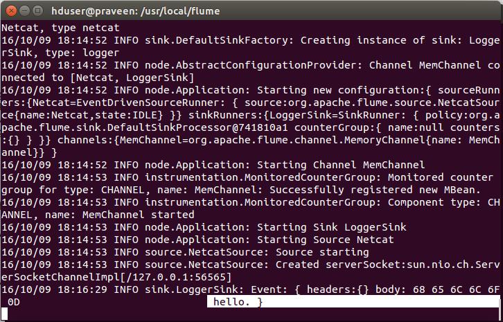 Apache Flume Netcat Agent Configuration