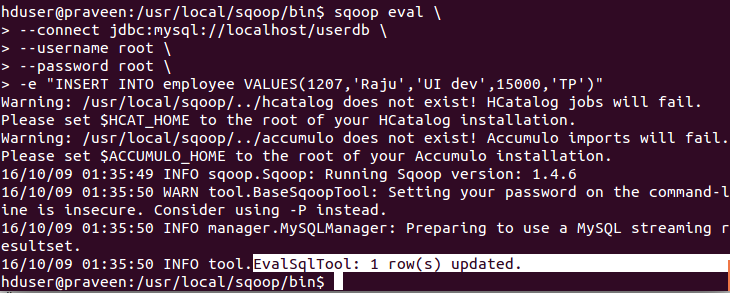 Apache Sqoop Eval Command With Example