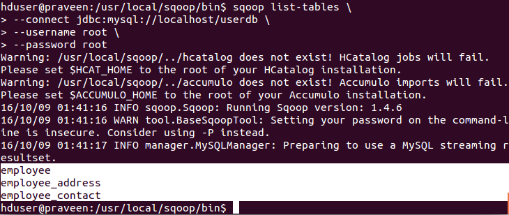 Apache Sqoop List-Tables Command With Example